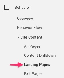 Landing pages report google analytics