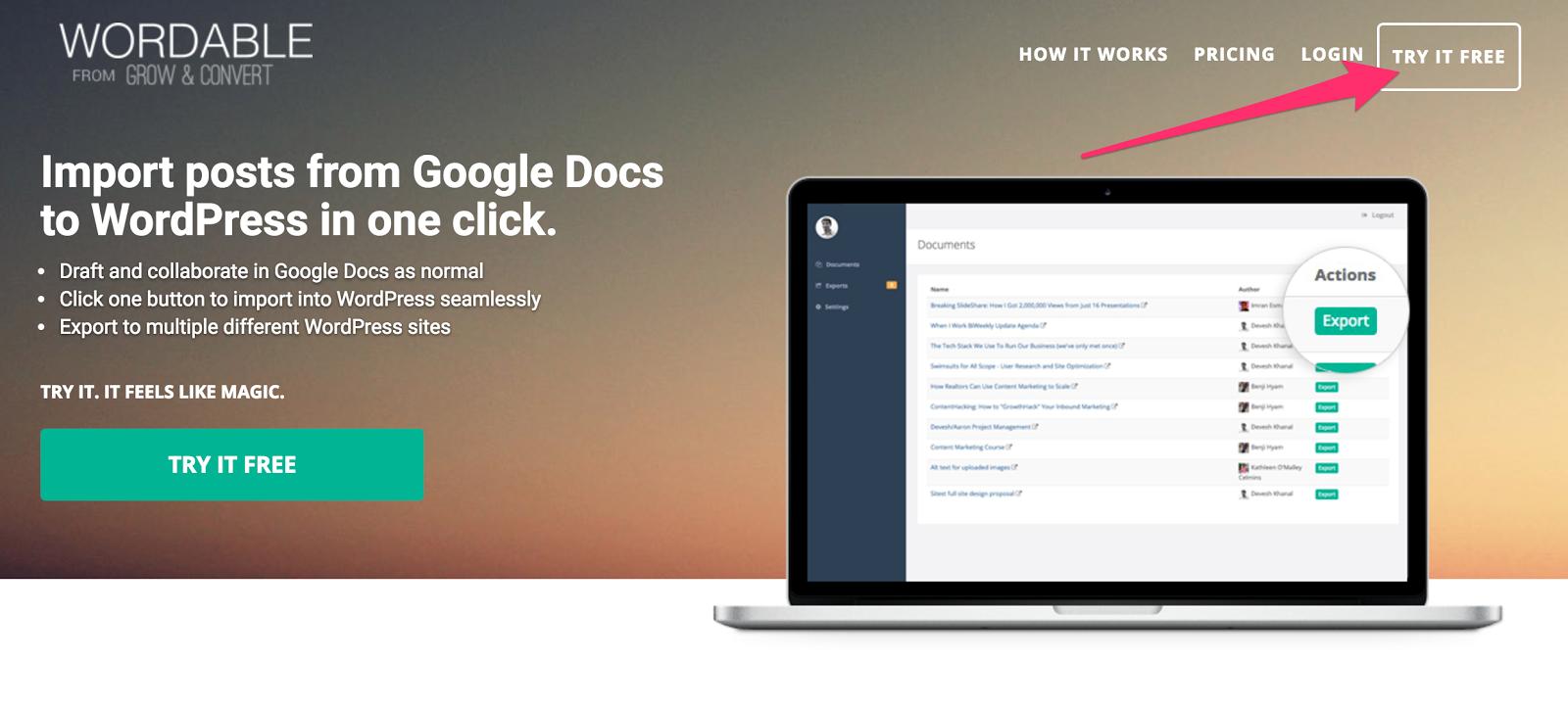Google-docs-wordpress-wordable