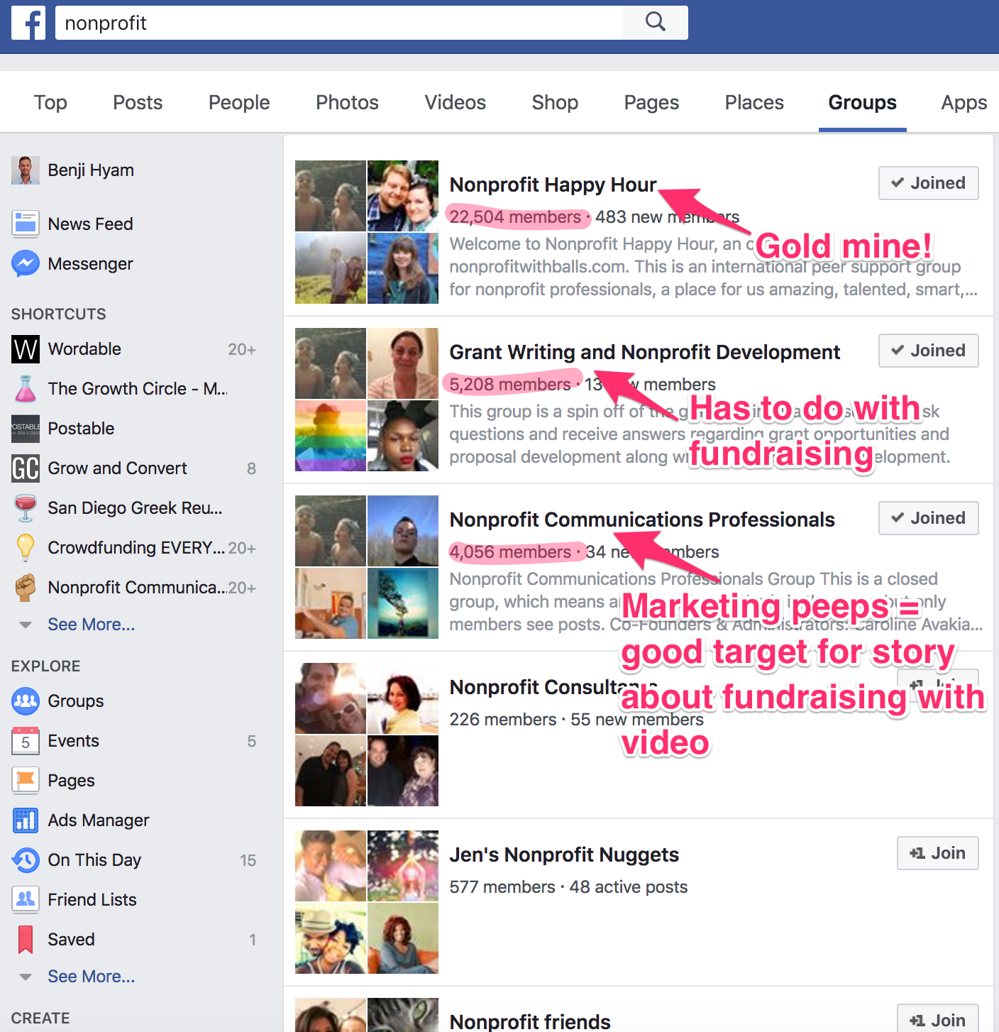 nonprofit Facebook Search