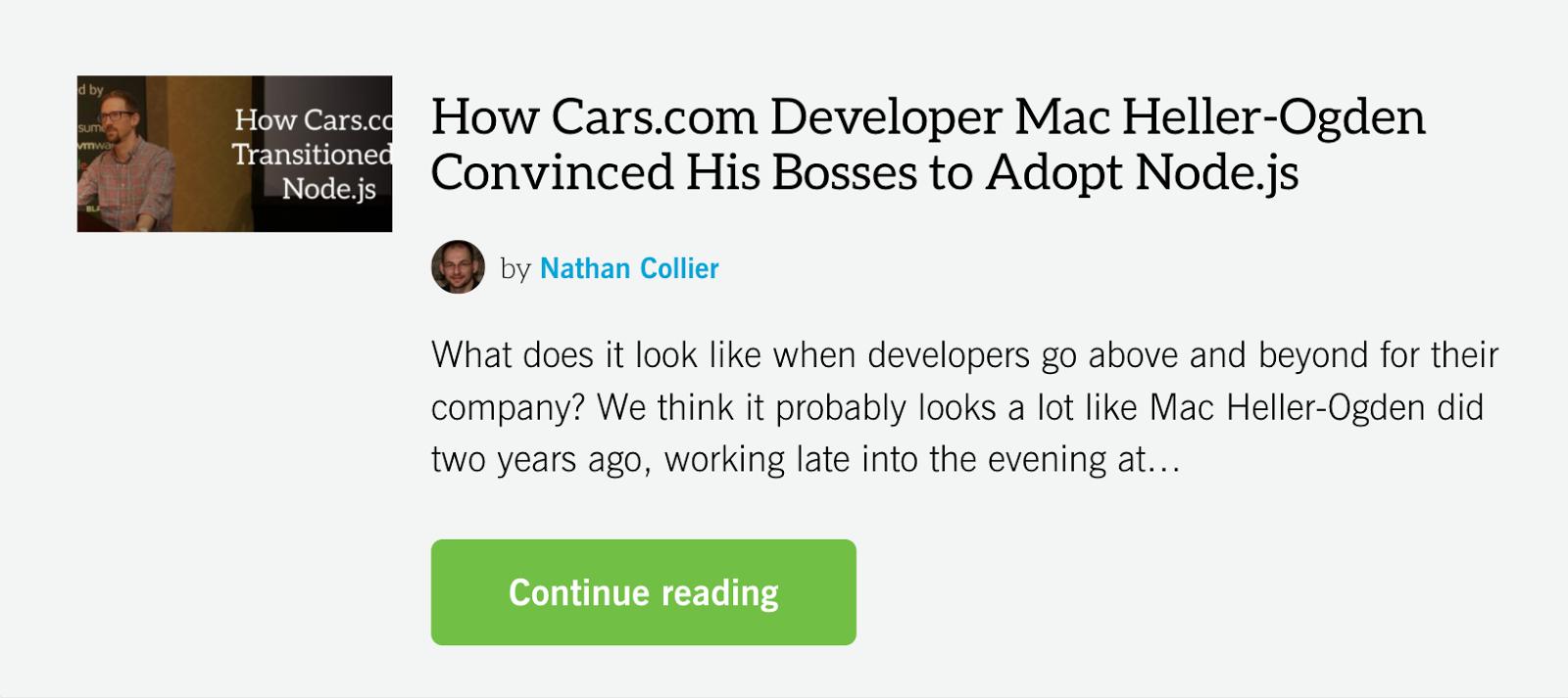 cars nodejs story