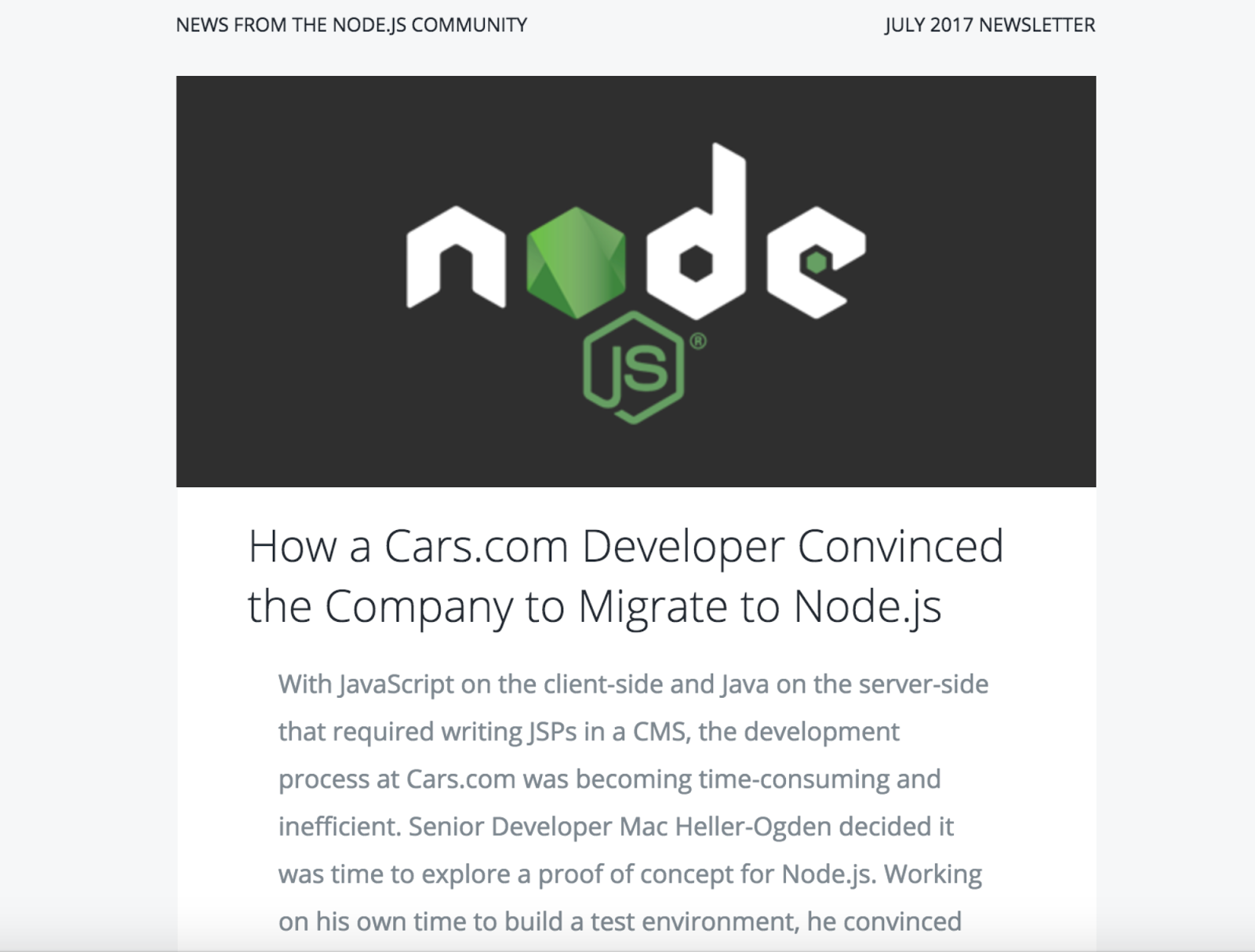 node newsletter