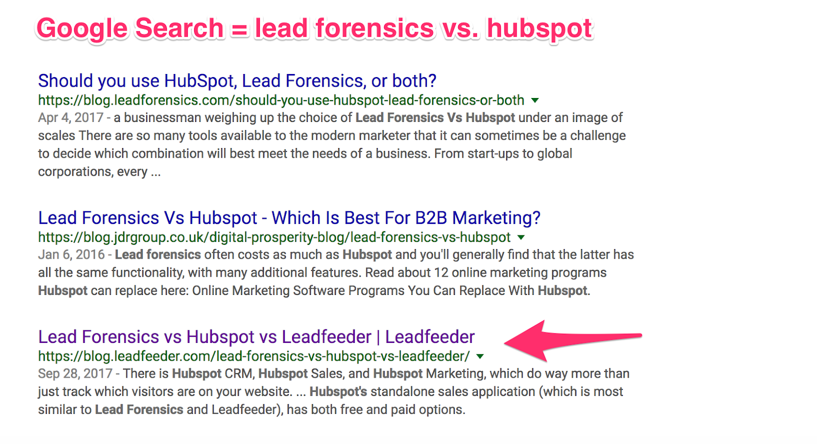 Google Search: lead forensics vs hubspot