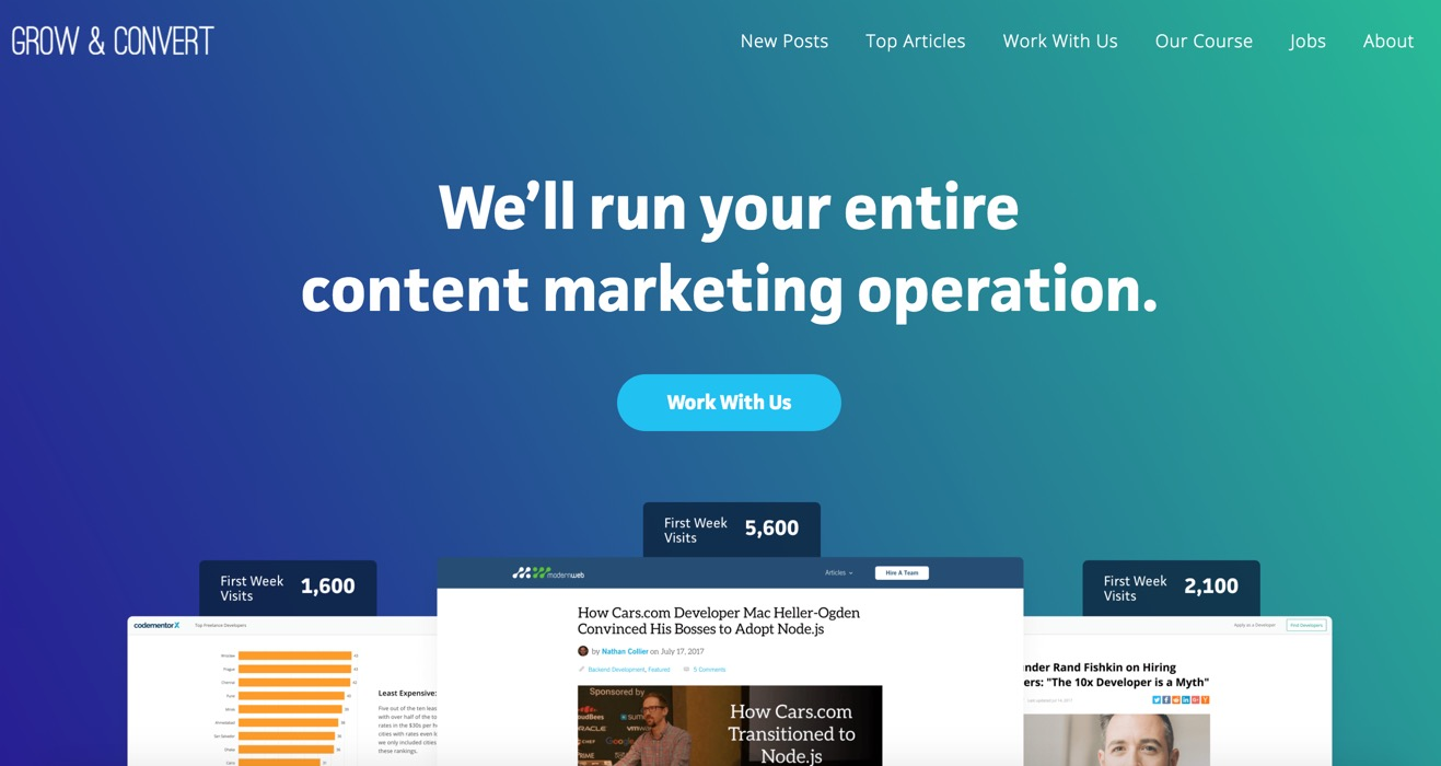 Grow & Convert: We'll run your entire content marketing operation.