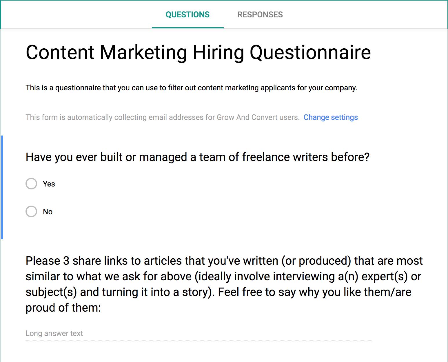 content marketing hiring questionnaire