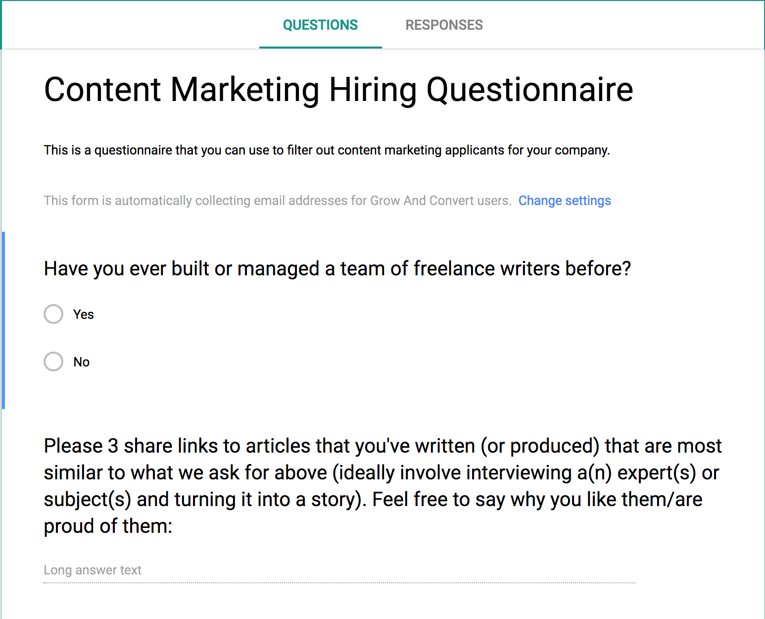 content marketing hiring questionnaire