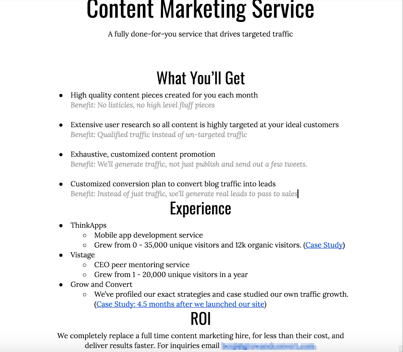 Content Marketing Done For You by Grow and Convert Google Docs