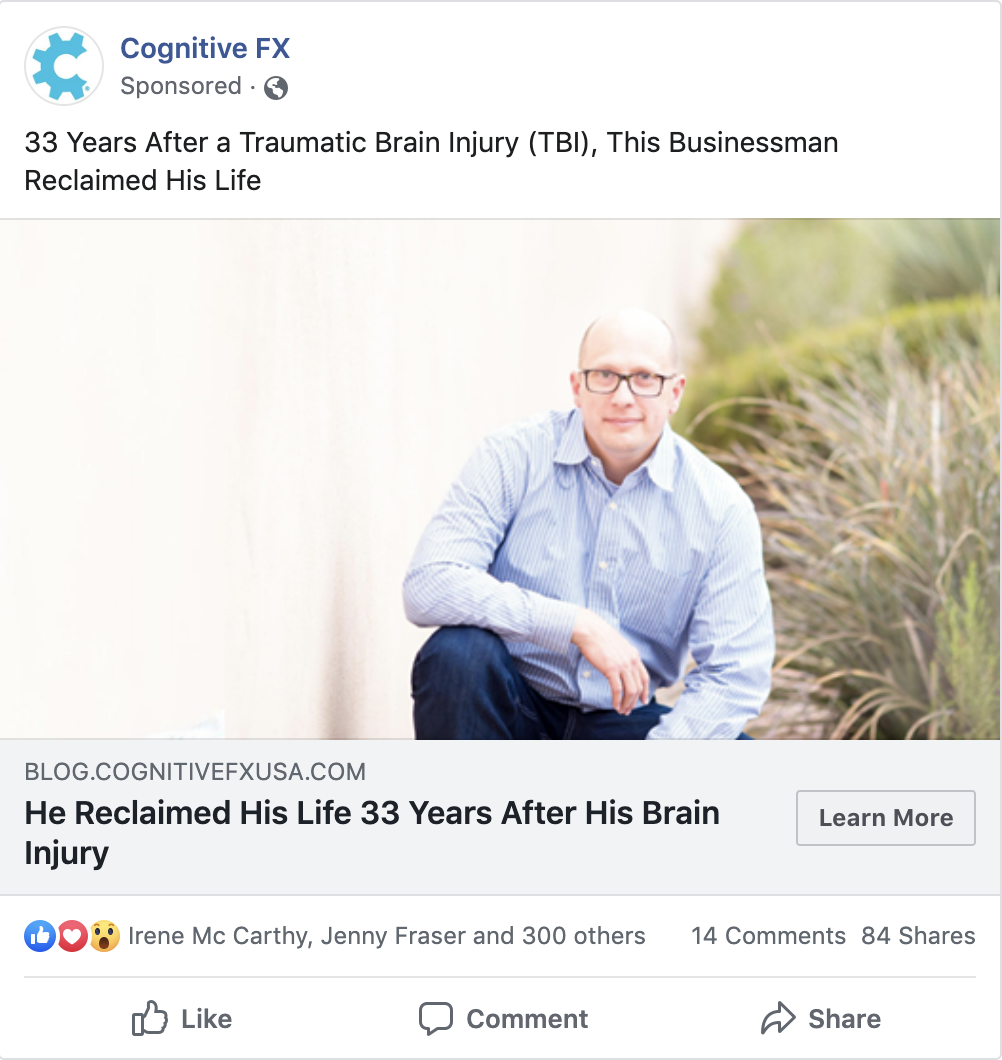 A sample of a FB ad that we ran for Cognitive FX