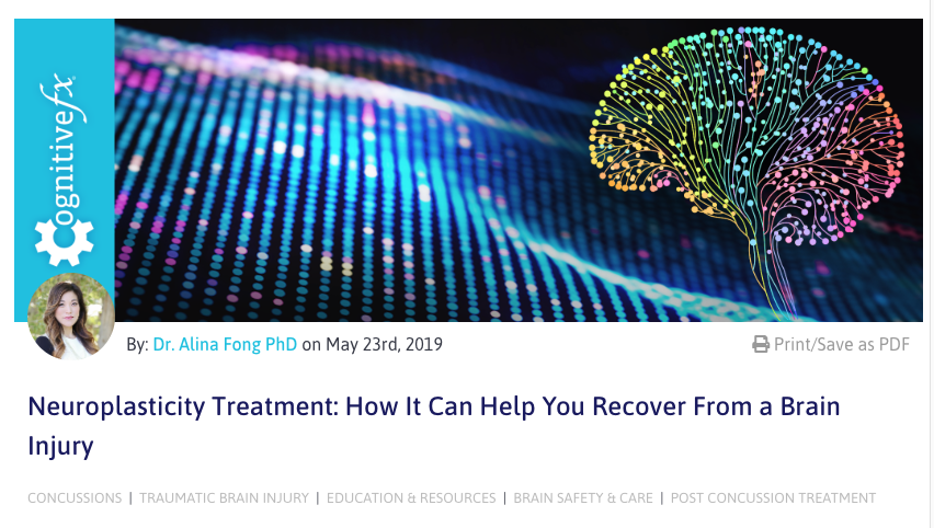 Screenshot of the Neuroplasticity Treatment: How It Can Help You Recover From a Brain Injury Blog on Cognitive FX
