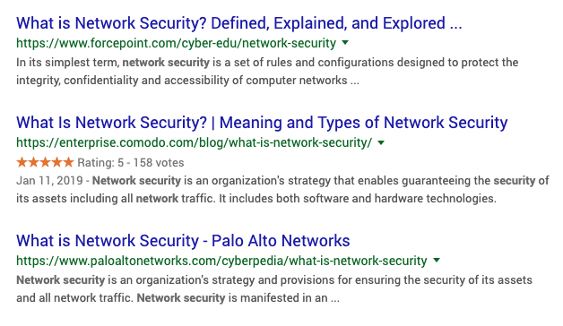 What is Network Security Google Search