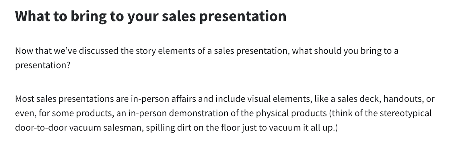 sales presentation blog post