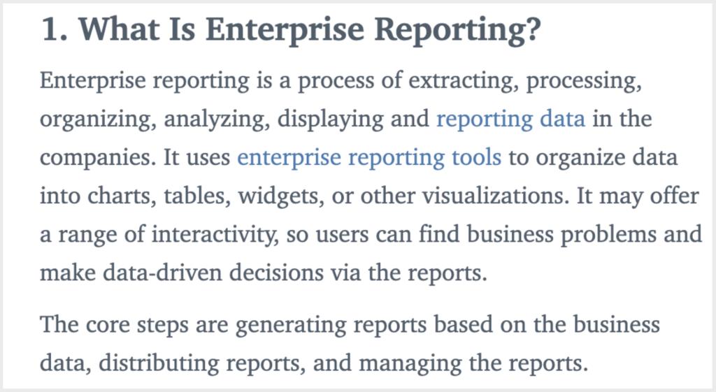 enterprise reporting example blog post