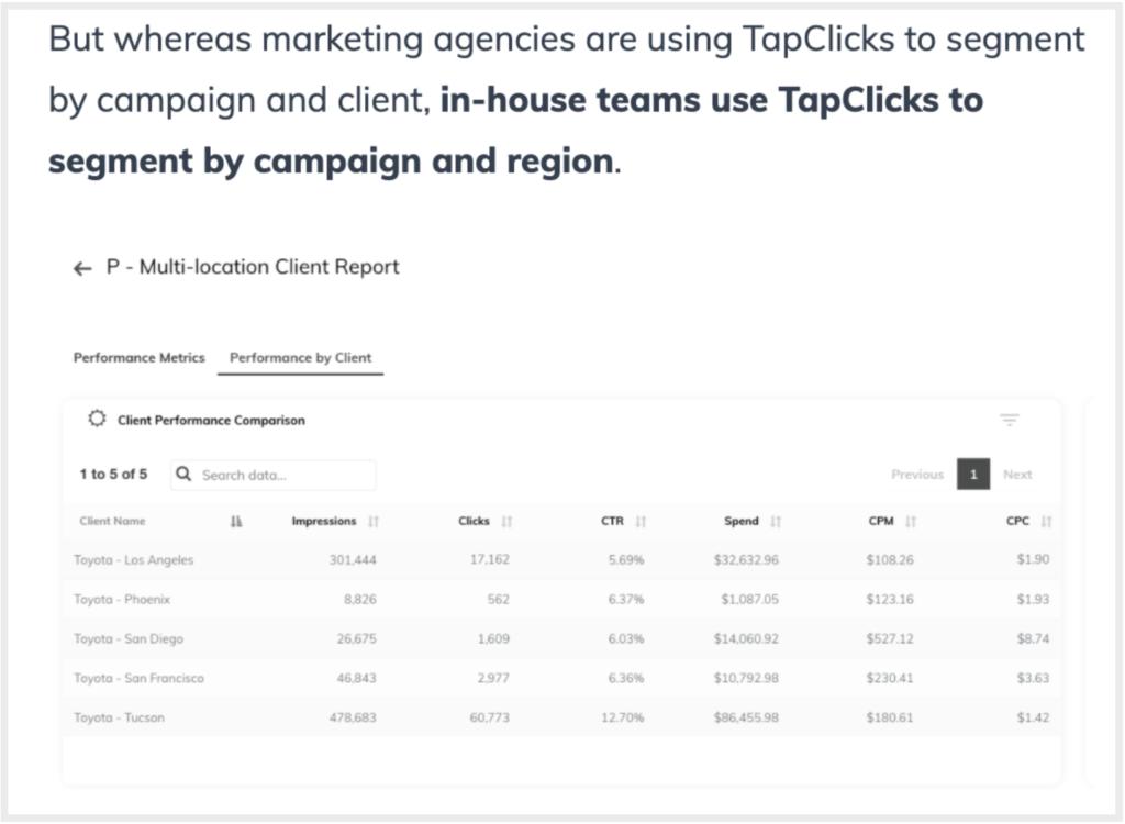 tap clicks segment example